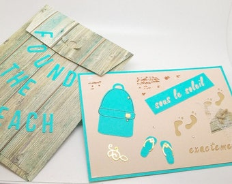 card and envelope on the beach theme