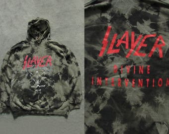 90s Vintage Slayer Divine Intervention Tie Dye Hoodie