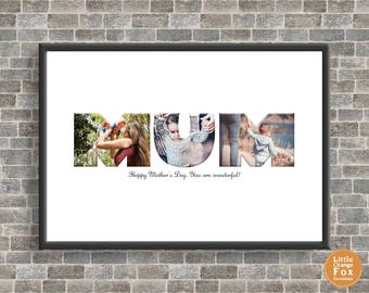MUM Personalised Photo Picture Print | Mother's Day | Birthday Gift For Her | A4 Sized