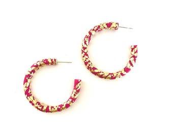 Hoop Earrings*Polymer Clay Hoops*Colourful Hoops*Fuscia Pink, Gold Leaf*