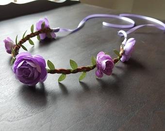 Purple blossom ranunculus flower crown