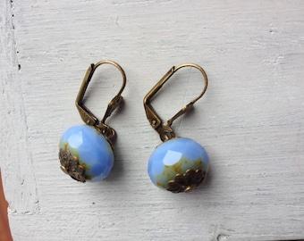 Artisan Bohemian earrings Blue Pearl