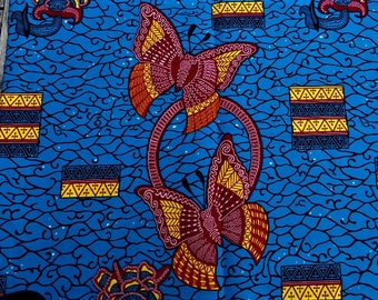 WAX fabric African big Butterfly patterns