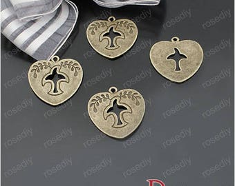 10 bronze 24MM - ping hearts D22310 Dove charm
