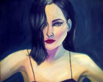 Original Oil Painting Female Face