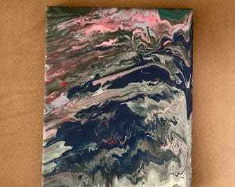10x6 acrylic pour painting on canvas