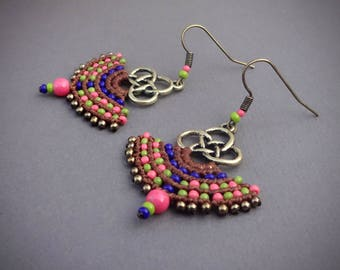 Macrame earrings, gipsy boho style, handcrafted earrings, czech seed beads