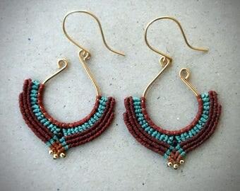 macrame earrings, silver 24K gold plated beads, 24K gold plated wire, handcrafted earrings
