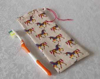 "Waterproof case ""unicorns"" for toothbrush and toothpaste for bag, briefcase or toiletry bag, waterproof lining"