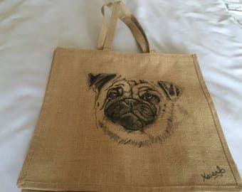 Pug Hessian Art shopping bag