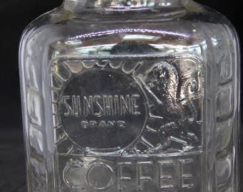 Sunshine Brand Coffee Vintage Glass Jar