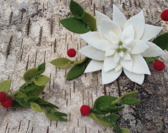 Holiday Poinsettia and Holy Hair Clips