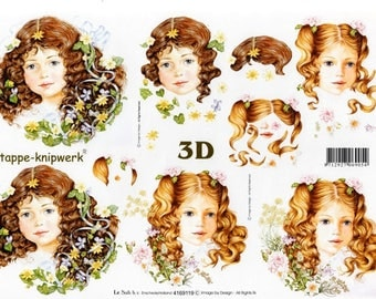 1 x sheet for decoupage 3D Portrait of young girl (9119)