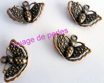 4 metal Butterfly pendant charms