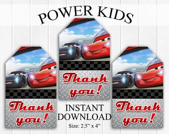 INSTANT DOWNLOAD Cars 3 Thank You Tags, Favor Tags, Party Favors, Printable DIY