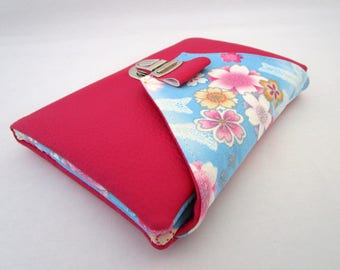 Faux fuchsia wallet and floral Japanese fabric