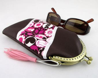 """Glasses case in faux Brown and designer fabric """"love"""""""