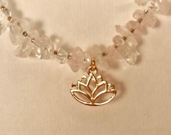 Lotus, Rose Gold Plated, Rose Quartz Nuggets, Clear Quartz Nuggets,Necklace