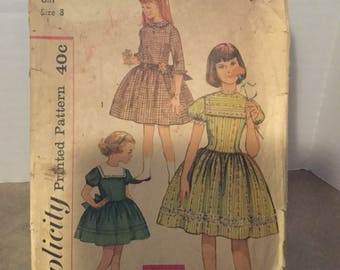 Vintage Simplicity Pattern #3765 c1950s Girls One-Piece Dress Size 8