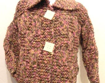 multicolored wool vest/jacket knitted with size 5/6 years winter fashion girl buttons handmade