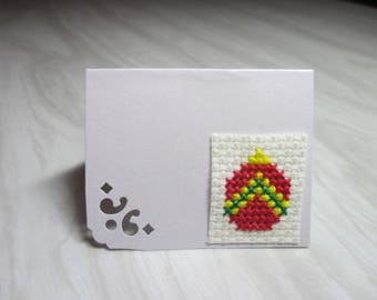 "Mini Card mark up embroidered ""Red Christmas ball"""