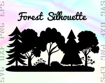 Forest SVG Files - Forest Silhouette - Forest Clipart - Forest Cricut Files - Forest Dxf Files - Forest Cut Files - Svg, Dxf, Png, Eps