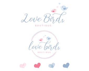 Birds logo Premade logo Branding kit Boutique logo Love birds logo Kids logo Children logo Watercolor handmade logo Baby shop logo