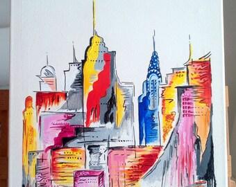 New York Skyline Nyc Abstract Acrilic Canvas Painting Handmade Love Gift