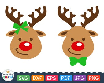 Rudolph Svg Santa Reindeer Head with Red Nose Svg Christmas Clip Art, Instant downloads, Cut File for Cricut Png Eps Dxf Silhouette designs