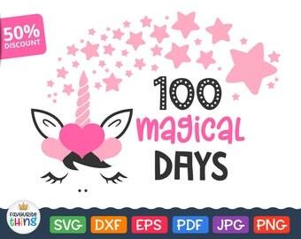 100 Days Svg School Magical Days SVG Girls T-shirt Clip art Unicorn & Stars Cuttable Design for Cricut Silhouette Dxf Vinyl Transfer Image