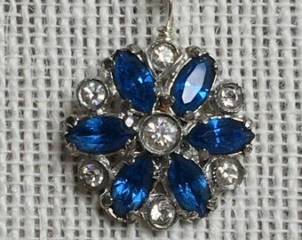 Vintage Blue Rhinestone Pendant with chain