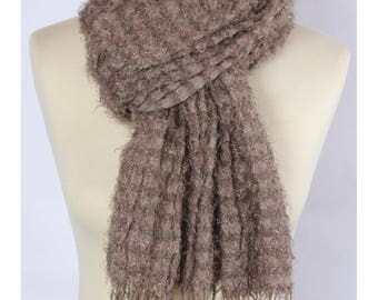 Terry cotton beige scarf