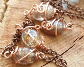Rutilated quartz and quartz tourmaline pendant with copper worked around a native by copper and unique - Copper necklace