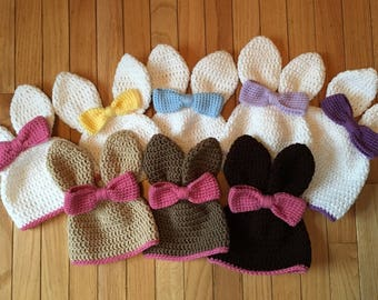 Bunny Hat with Bow with Trim - Handmade Infant to Child Sizes