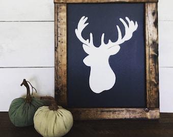 DEER SILHOUETTE CHALKBOARD | farmhouse chalkboard | 15x12 | wood framed