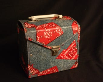 Patchwork Blue Denim & Red Bandana-45 RPM Record Carrier-Vinyl Carrying Case with Plastic Handle-