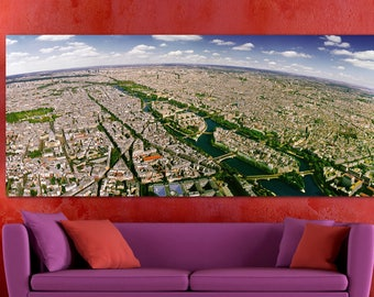 Paris with Notre-Dame &  Seine | Framed on the Highest Quality Museum Canvas | Panorama Personally Created and Signed for You in our Studio