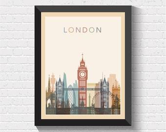 London Skyline, London Print, London Poster, London Art, London Map Print, London Wall Art, London Cityscape, UK Art, London, UK, Travel Art