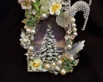 Jeweled Picture Frame Handmade From Vintage Jewelry.  One Of A Kind.