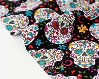 Fabric skulls Mexican American black floral x 50cm