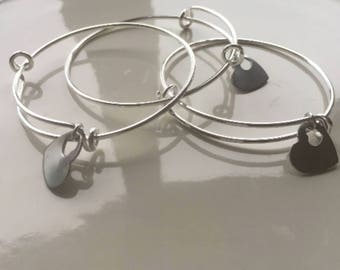 Silver Bangle, Extendable Bangle, Expandable Bracelet, Large Bangle, Large Bracelet, Adjustable Bangle, Adjustable Bracelet with Hearts,