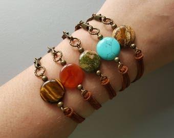 Bohemian Wrap Bracelet. Boho Gemstone Bracelet. Brown Leather Bracelet. Gemstone Jewelry. Boho Jewelry. Suede Wrap Bracelet.
