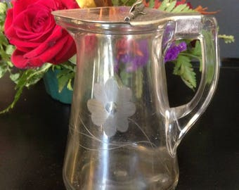Covered Etched Syrup Pitcher