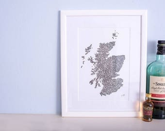 Whisky map of scotland- calligraphy print