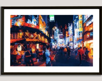 Asian Street, painting, wall, print, decorative, home, office, restaurant, decor, apartment, art, illustration, picture, image, colorful