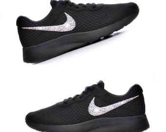 Swarovski Crystal Nike Tanjun In Black Shoes Women's Bling Diamond Sneakers