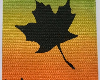 Fall Inspired Leaf Silhouette Painting, Orange to Yellow to Green Transition