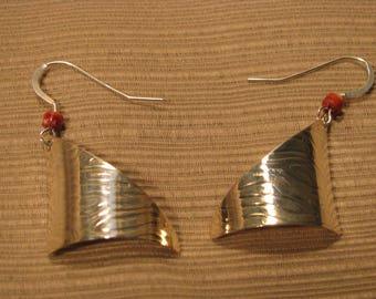 Navajo Made Hand Stamped Sterling Silver Spiny Oyster Heishi Earrings Raymondo Joe #J6