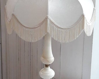 vintage ivory damask unlined table/pendant fringe lampshade