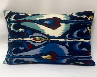 """12 x 20"""" Ikat Pillow Cover - Designer Fabric - Robert Allen - Indigo Ikat - Ikat Throw Pillow - Ikat Accent Pillow"""